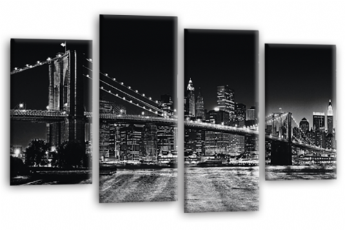 Brooklyn Bridge New York Skyline Black Panorama Canvas Wall Art Home Decor